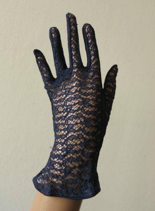 Damen Abend Handschuhe Navy Blau Spitze True Vintage 40er 50er Jahre Bild