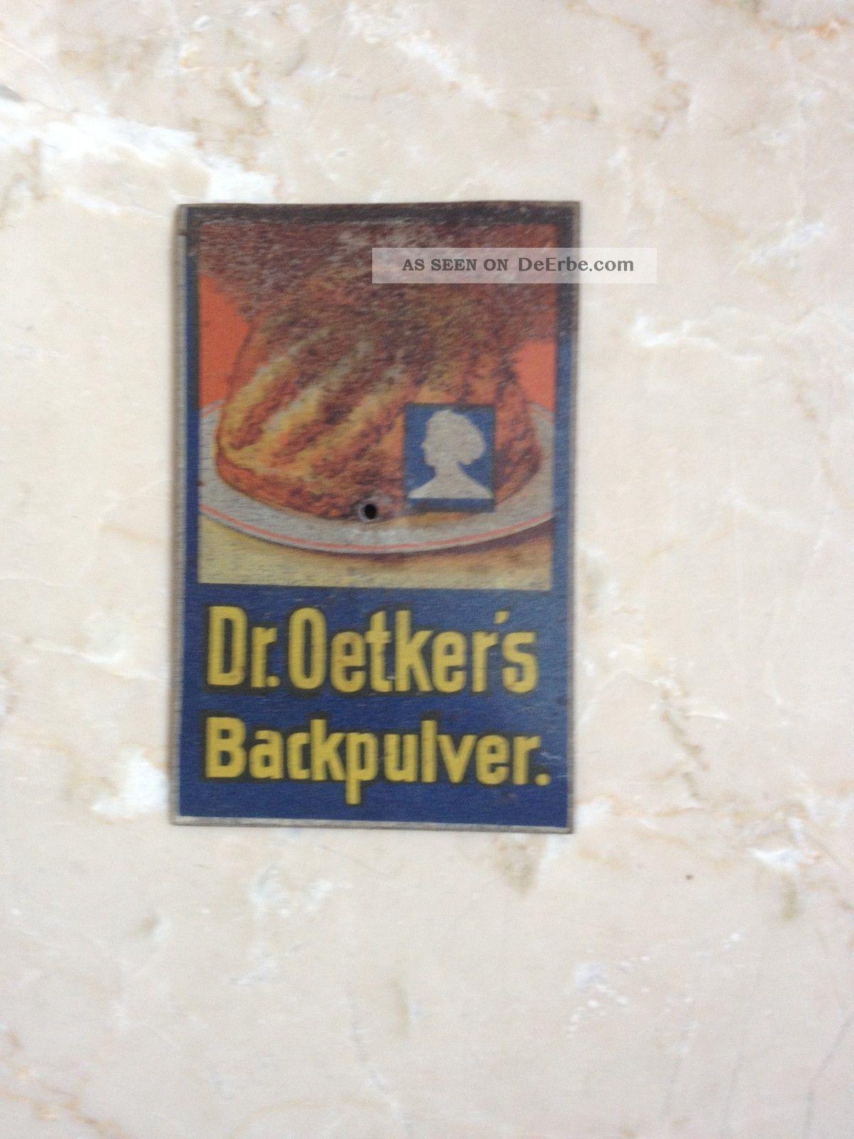 Dr.  Oetker Türschild,  Oetkers ' Backpulver,  Emailleschild,  Tante Emma,  Rar,  Selten Kaufleute & Krämer Bild