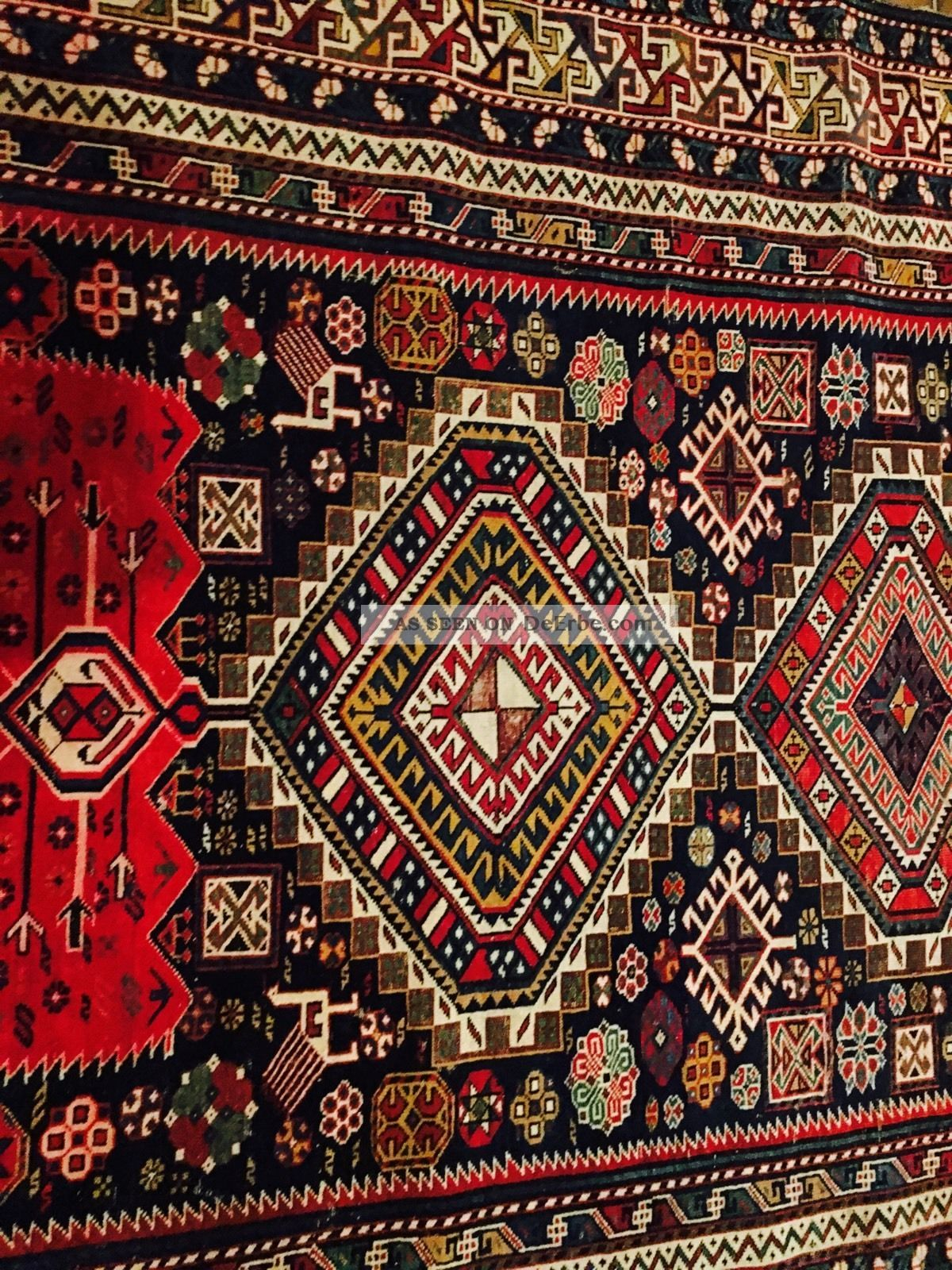 120 jahre antiker originaler shirvan kasak teppich old rug. Black Bedroom Furniture Sets. Home Design Ideas