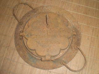 Antikes Altes Waffeleisen Mit Herdeinsatz Aus Gusseisen Für Kohleherd Um 1900 Bild
