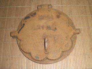 Antikes Altes Waffeleisen H & M Aus Gusseisen Für Kohleherd Um 1900 Bild