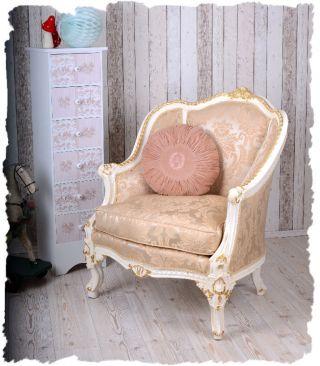 Vintage Sessel Weiss Gold Gigantische Bergere Im Barockstil KÖniglich Bild