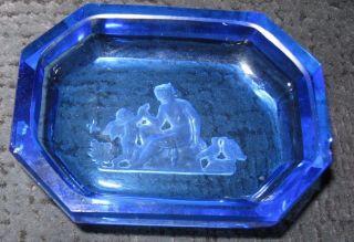 Glas Schälchen Blau Tabletten Schale Josephinenhütte Mutter Engel Angeschlagen Bild