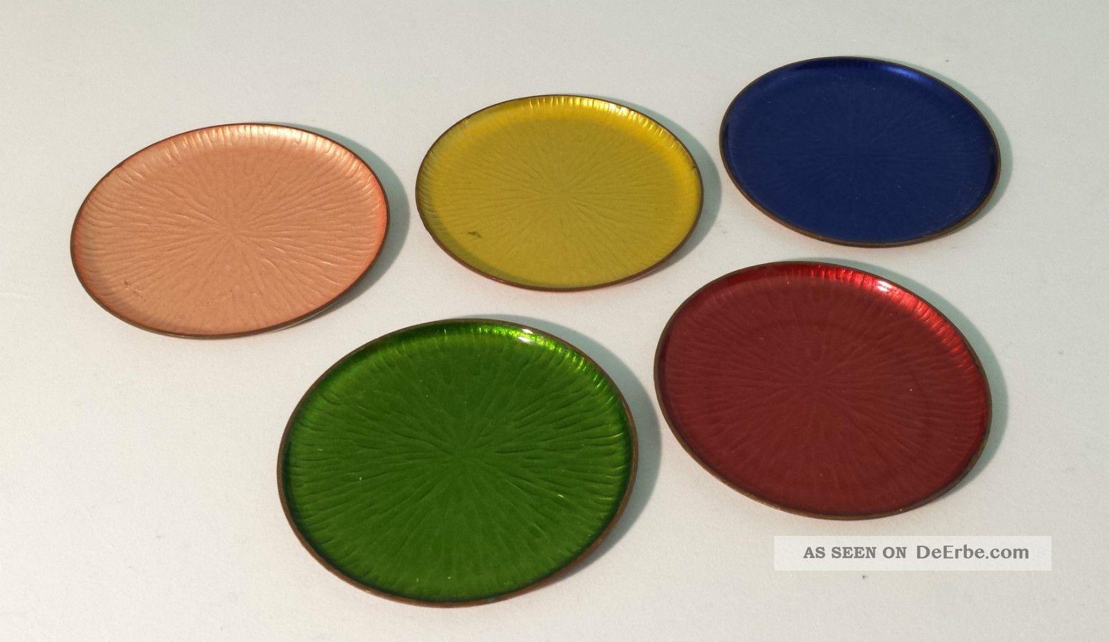 5 Untersetzer Aus Kupfer,  50er / 60er,  Farbig,  Pastell,  Toller 1950-1959 Bild