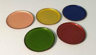 5 Untersetzer Aus Kupfer,  50er / 60er,  Farbig,  Pastell,  Toller Bild