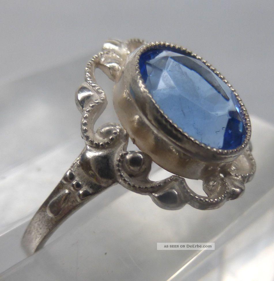 Jugendstil Ring Mit Blauem Stein, Silber 835, Ungetragen Aus Juwelier ...