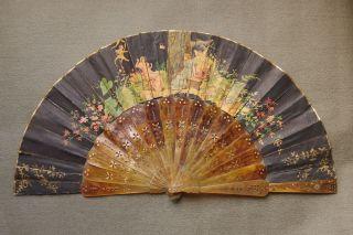 Fächer Um 1900 Papier Horn Bild