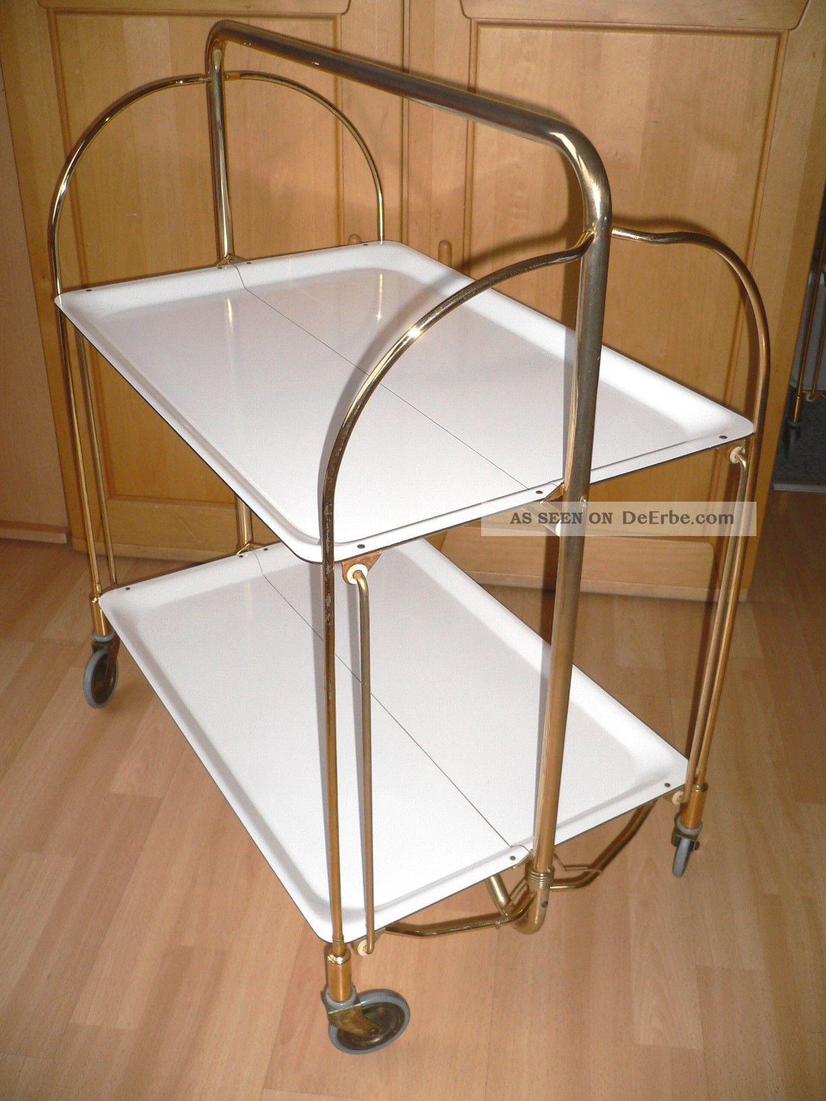 dinett von bremshey wei teewagen servierwagen beistelltisch 55 65er. Black Bedroom Furniture Sets. Home Design Ideas