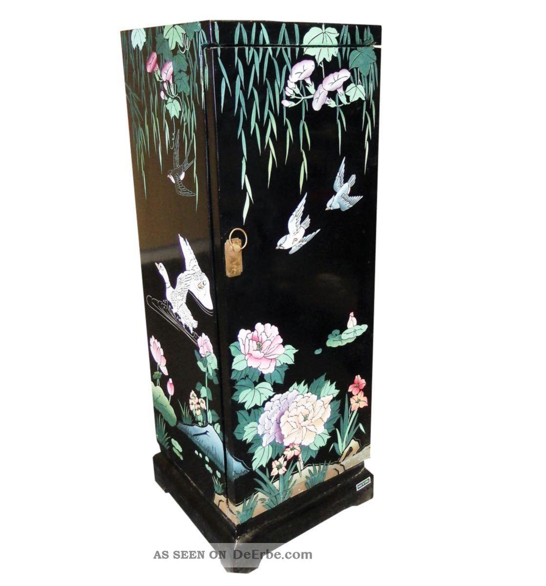 China Kommode Schwarz Bemalt H 92 Cm