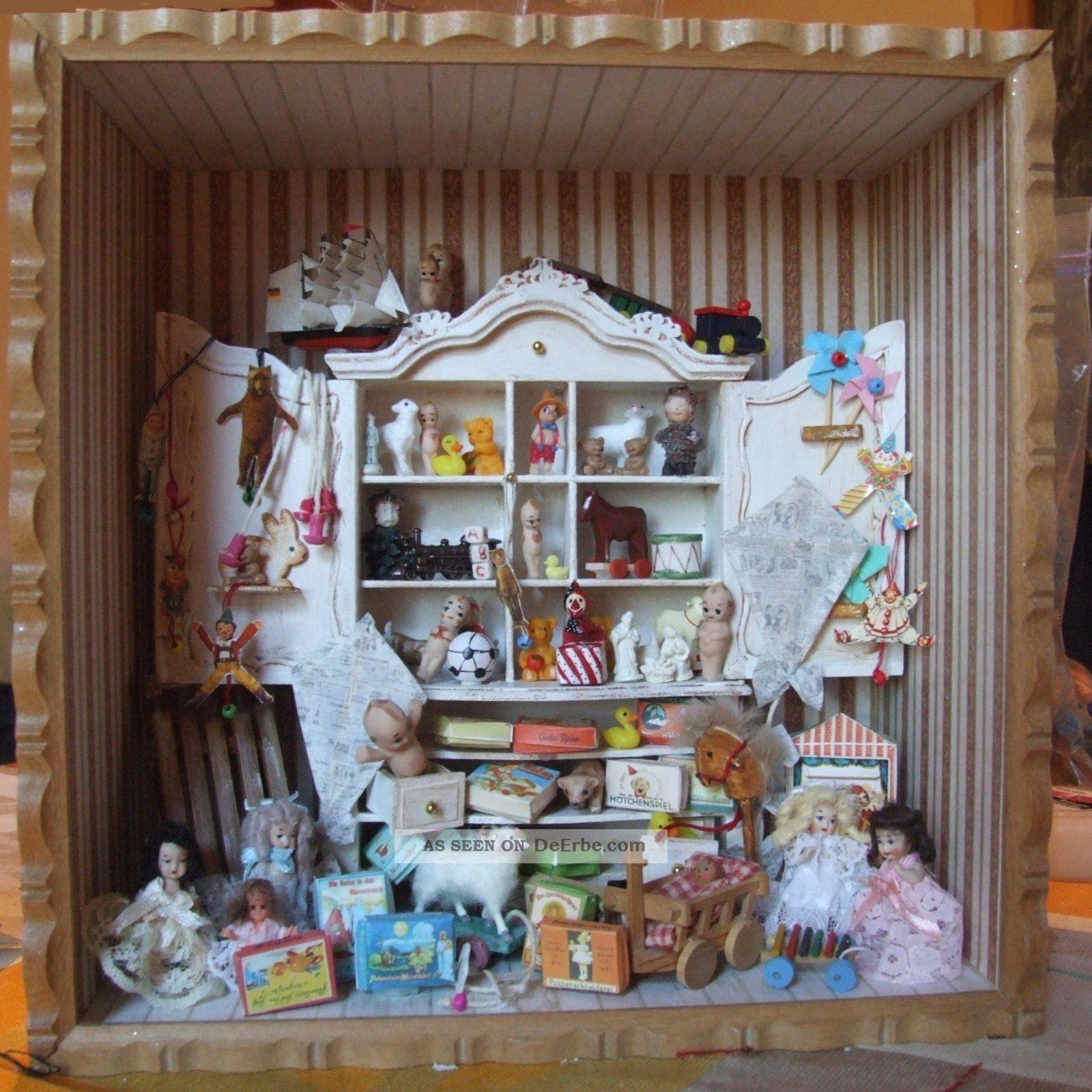 Puppenstube puppenhaus roombox spielzimmer handarbeit for Lampen puppenhaus