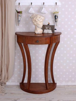 Tischkonsole Demi Lune Konsole Biedermeier Stil Holzkonsole Wandkonsole Bild
