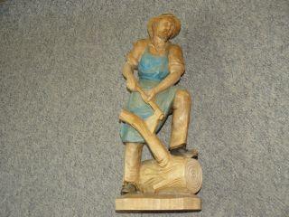 Figur Holzfäller Waldarbeiter Mann Mit Axt Holzfigur Holz Skulptur Bild