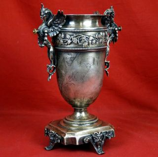 Antiker Russischer Pokal Metall Versilbert Reich An Ornamenten Bild