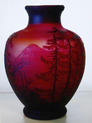 Emile Gallé Jugendstilvase Seelandschaft Cameoglas Ätzdekor Überfangglas France Bild