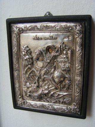 Silber - Relief - Bild Nach Art Einer Byzantinischen Ikone Auf Holz - 950er Silber Bild