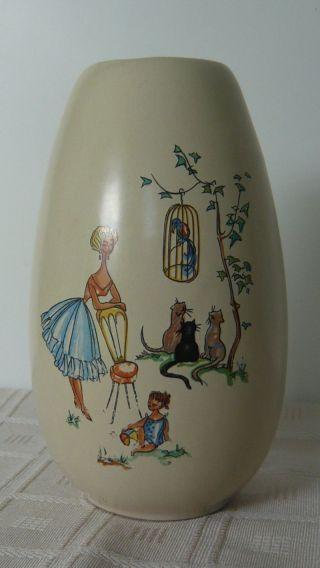 Dachbodenfund: Keramik Vase Blumenvase 50er Jahre Jasba (?) Zeittypisches Motiv Bild