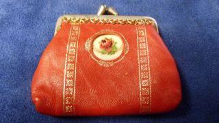 Vintage Leder,  Gobelin Geldbörse - Gobelin Stickerei - Alt In Bild