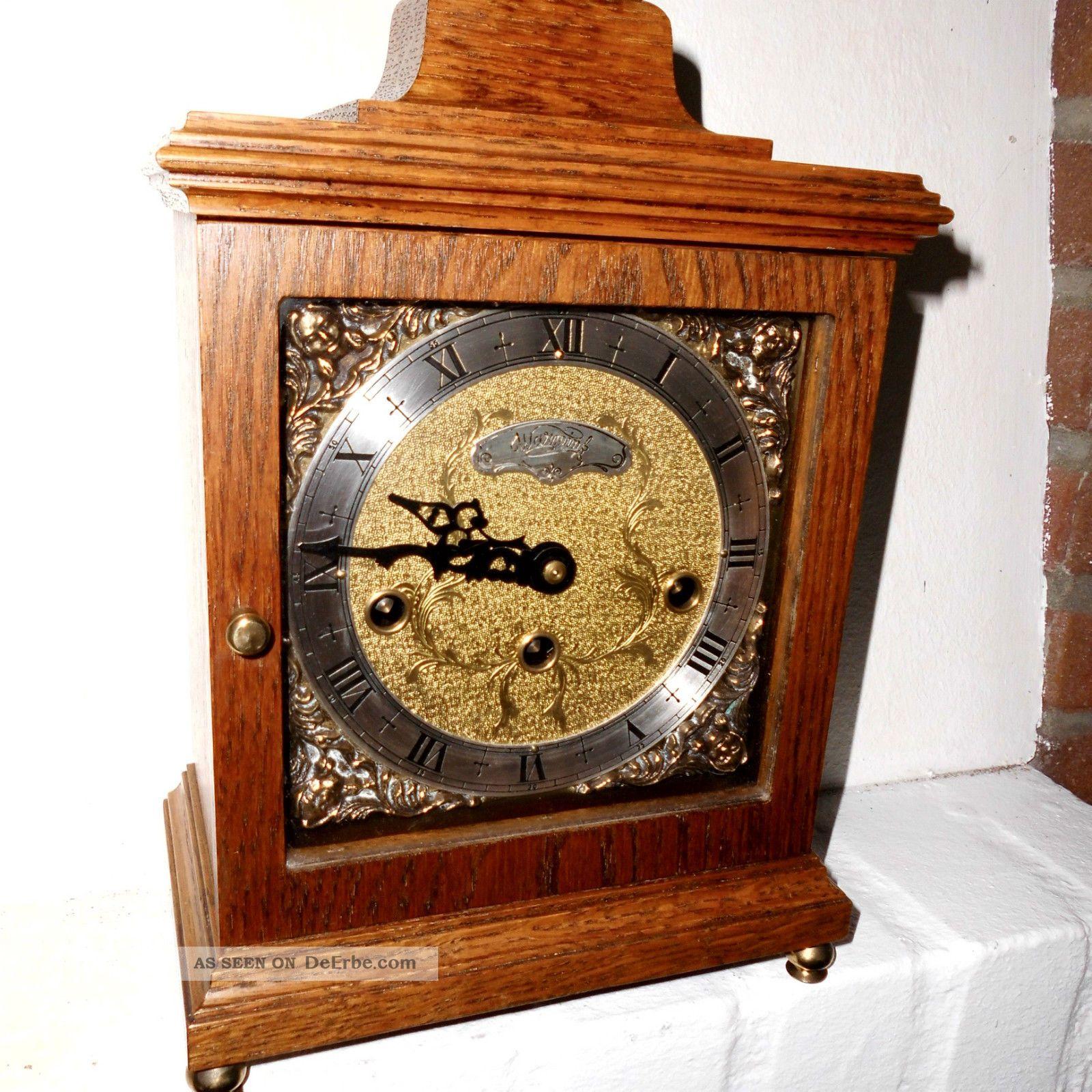 Bracket Clock Kaminuhr Tischuhr Stockuhr Westminster 4/4 Stutzuhr Warmink Wuba Gefertigt nach 1950 Bild