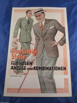 Stoff - Musterbuch Stoffmuster Um 1930 Flanell - Stoffe Für Hosen Und Anzüge K&b Bild
