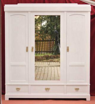 Antiker Kleideschrank Weiß Zerlegbar Wohnfertig Schrank Vintage Style 3 - Türig Bild