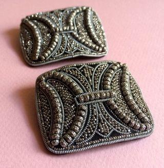Zwei Traumschöne Antike Schuhschnallen Mit Cut - Steel Perlen Bestickt Bild
