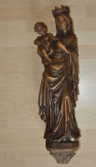 Holzschnitzerei Madonna Mit Jesuskind Skulptur Antiquitäten Bild
