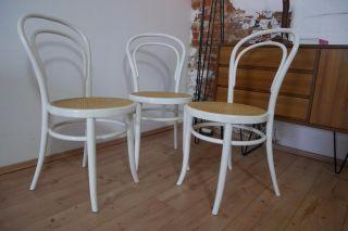 3 X Bugholz Wiener Kaffeehaus Stuhl Stühle Mit Geflecht,  In Weiß Bild