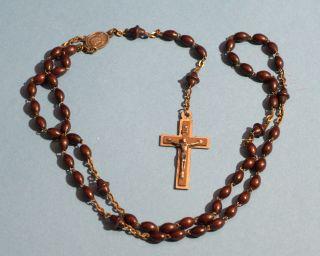 Sehr Alter Rosenkranz Holzperlen Jesus Kreuz Maria Bild