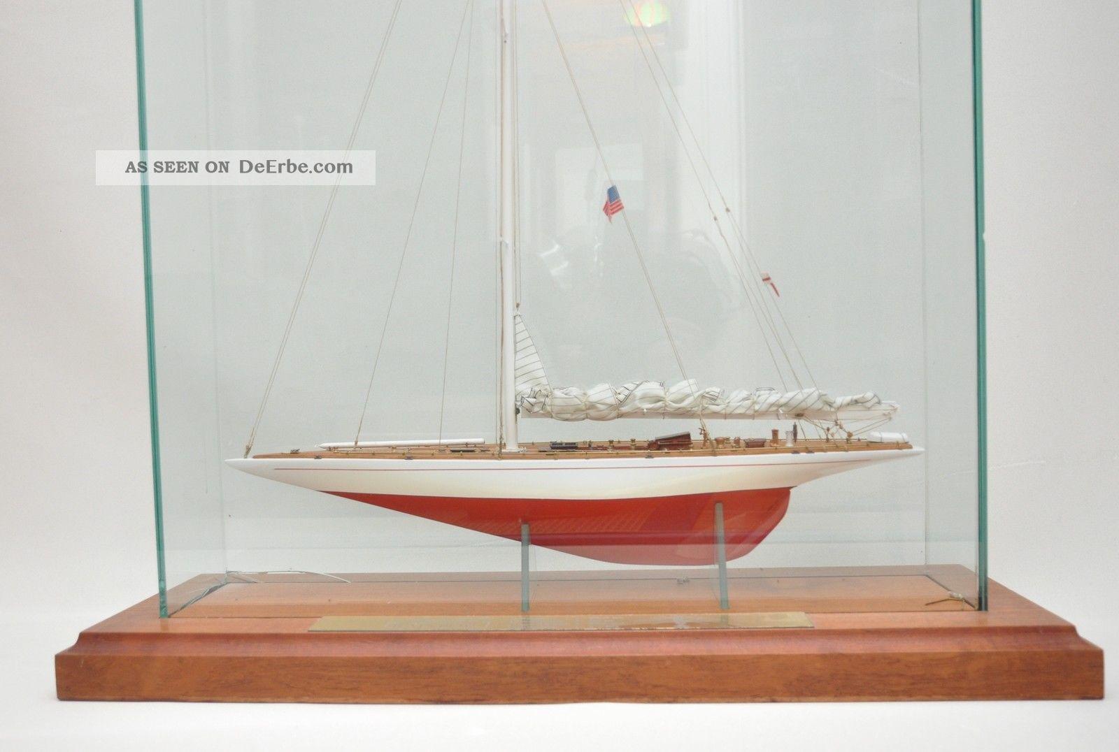 Schiffsmodell rainbow america 39 s cup mit vitrine dekoration maritim nautica - Dekoration maritim ...