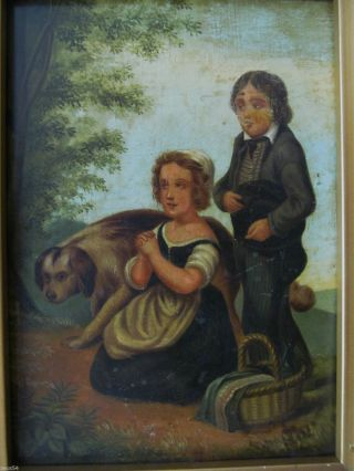 Ölgemälde Biedermeier Kinder Mit Hund Bild