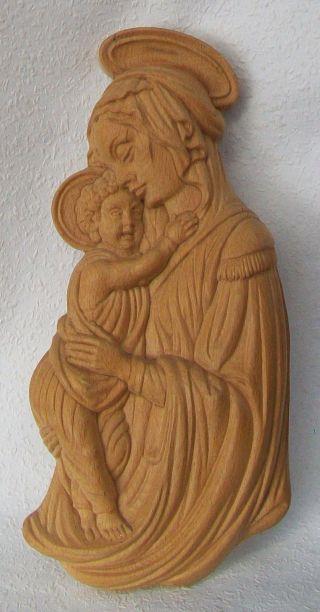 Wandbild,  Madonna Mit Kind,  Tirol,  Massivholz,  Handgeschnitzt,  HÖhe 44 Cm Bild