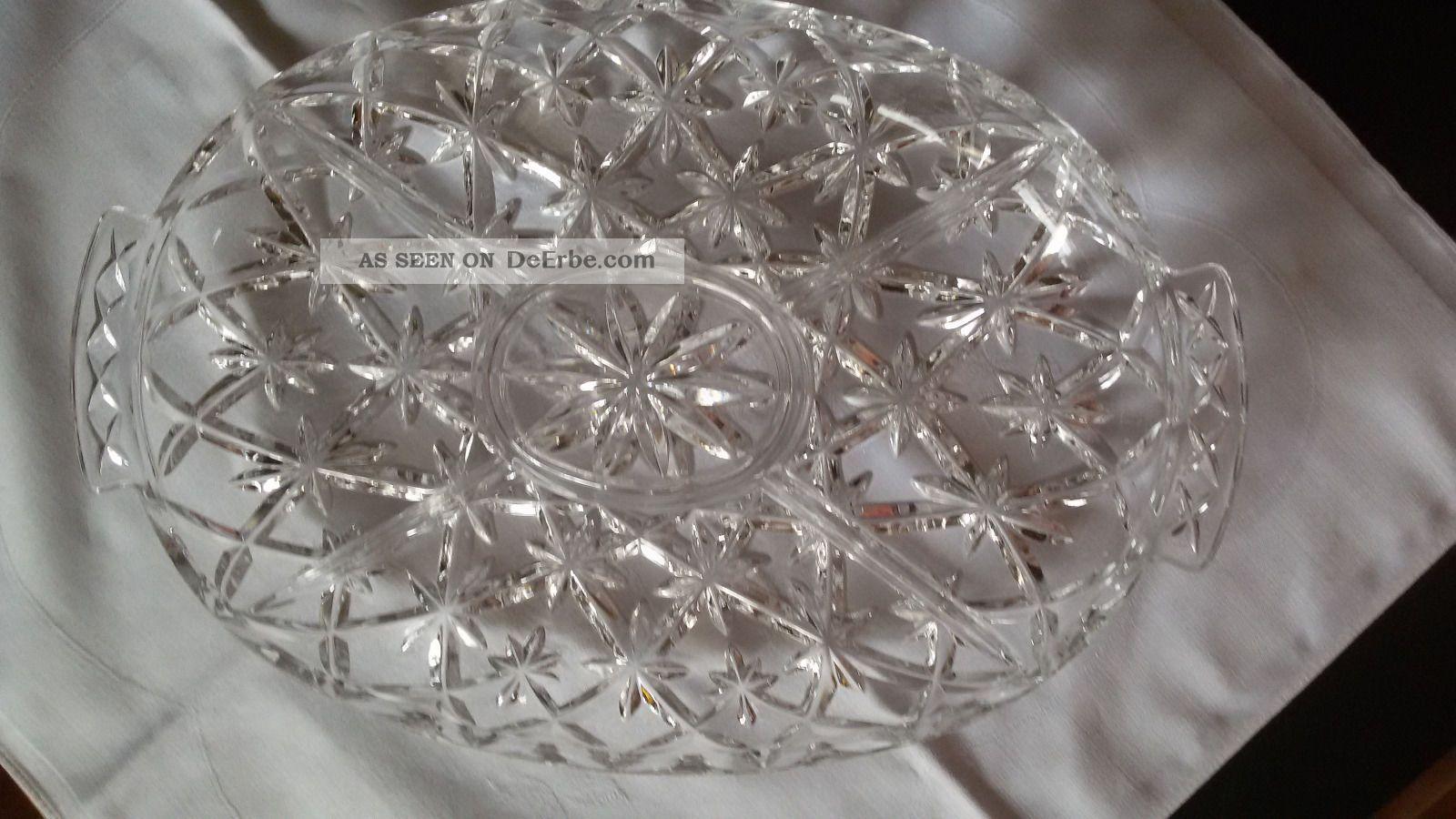 servierplatte bleikristall oval mit 5 f chern 36cm x 23. Black Bedroom Furniture Sets. Home Design Ideas