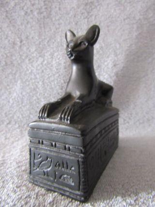 Ägyptische Katze Statue Auf Sockel Skulptur Kunstguss O.  Kunststein,  H.  10 Cm Bild