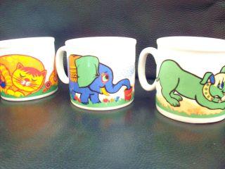 3 X 70s Gubor Tasse Studio Fischer Sammeltasse Kindertasse Katze Elefant Hund Bild