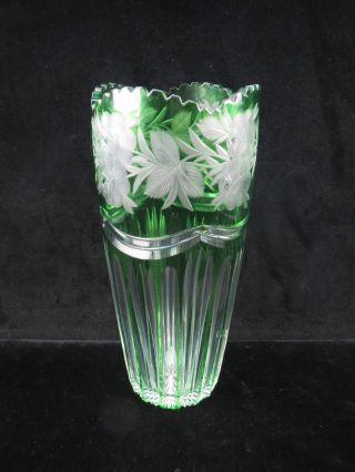 Sehr Schöne Grüne Kristall Vase Mit Feinen Gravuren Wohl Nachtmann Bild