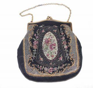 Kleine Handtasche Tasche Abendtasche Gobelin Um 1930 Bild