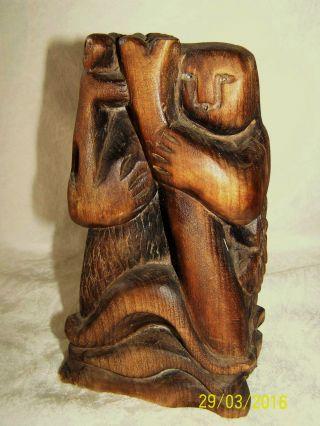 Holzskulptur Unikat,  Holzschnitzerei By Franz Margit 1975,  Christophorus, Bild