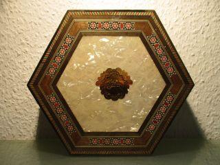 6 - Eckige Holzdose Mit Klappdeckel 20cm Arabisches Dekor Schachtel Box Schatulle Bild
