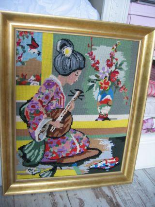 Großes Altes Gobelin China Japan Geisha Bild 70er Jahre Handarbeit Gerahmt Bild