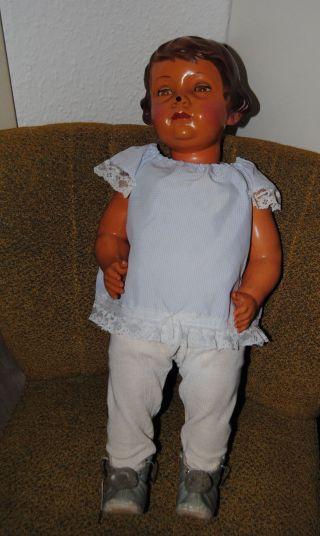 Antike Puppe Snf France Xxl Zelluloid 60cm Mit Kleidung Dachbodenfund Bild