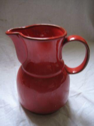 Alte Kanne Krug Rot Aus Den 60er /70er Jahren Keramik Mit Henkel Innen Glasiert Bild