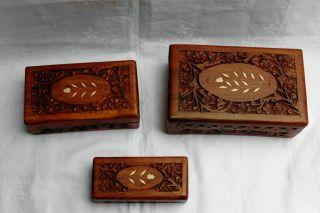 3 Holzkisten Schatulle Holzkästen Holz Schachtel Holzschachtel Schmuckkasten Dre Bild