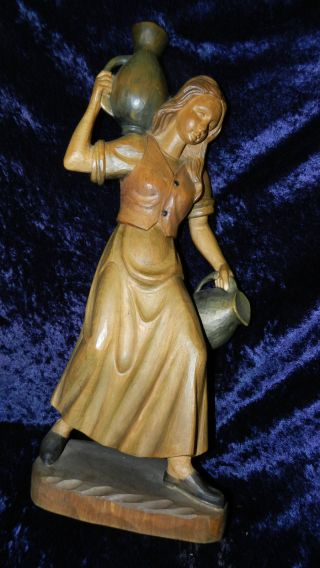 Holzfigur Heilige Rebekka? Wasserträgerin 52cm Geschnitzt Krippenfigur Bayern Bild