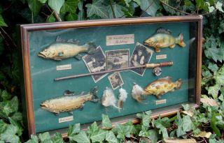 Dekorativer Älterer Angler Schaukasten Mit Miniatur Fischfang Devotionalien Bild