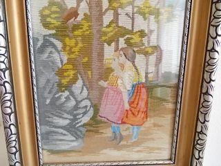 Stickbild - Kinder - Um 1900 - Jugendstil - In ZeitgenÖssischem Rahmen Bild