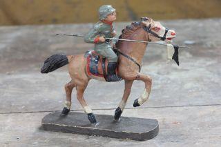 Verm.  Hausser Oder Elastolin Reiter Mit Pferd - Dachbodenfund (nr.  2) Bild