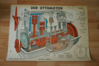 Alte Lehrtafel Vietakt Ottomotor Motor Dachbodenfund Fahrschulmodell Kolben Bild