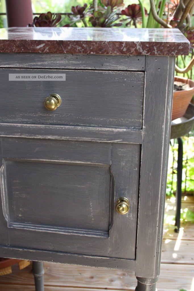 nachttisch grau nachtschrank kommode landhaus shabby chic vintage beistelltisch. Black Bedroom Furniture Sets. Home Design Ideas