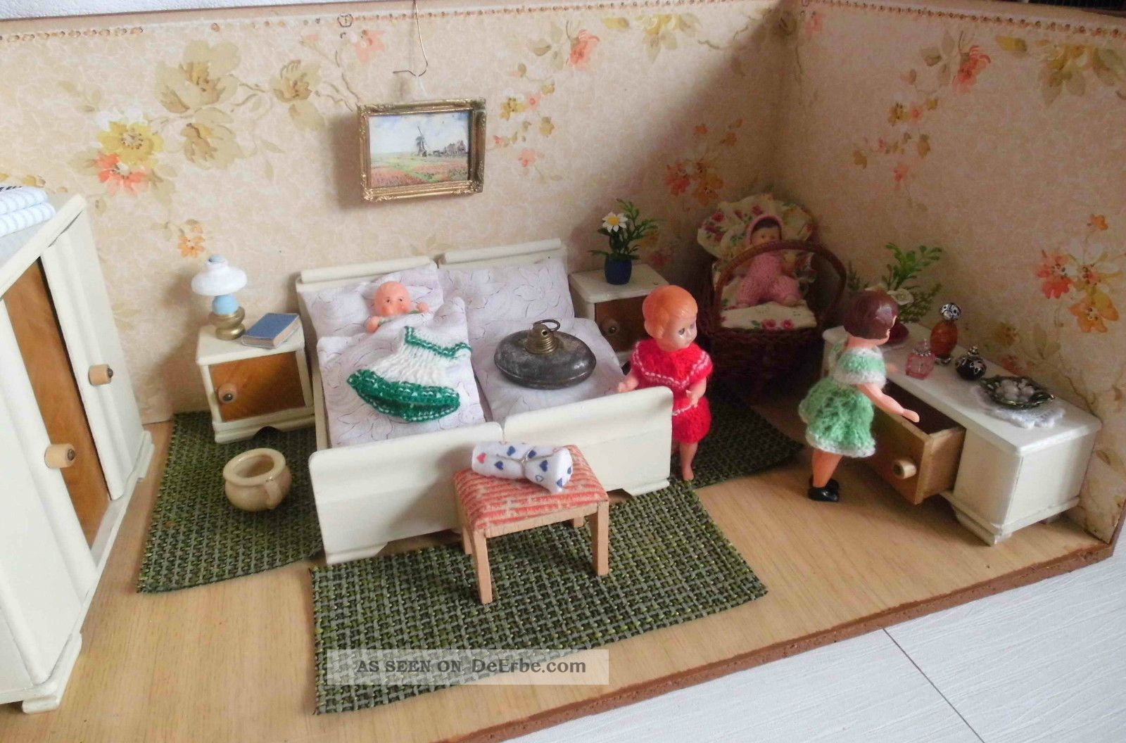 Antike Schlafzimmermöbel Mit Zubehör 30er Jahre Für Puppenstube/puppenhaus