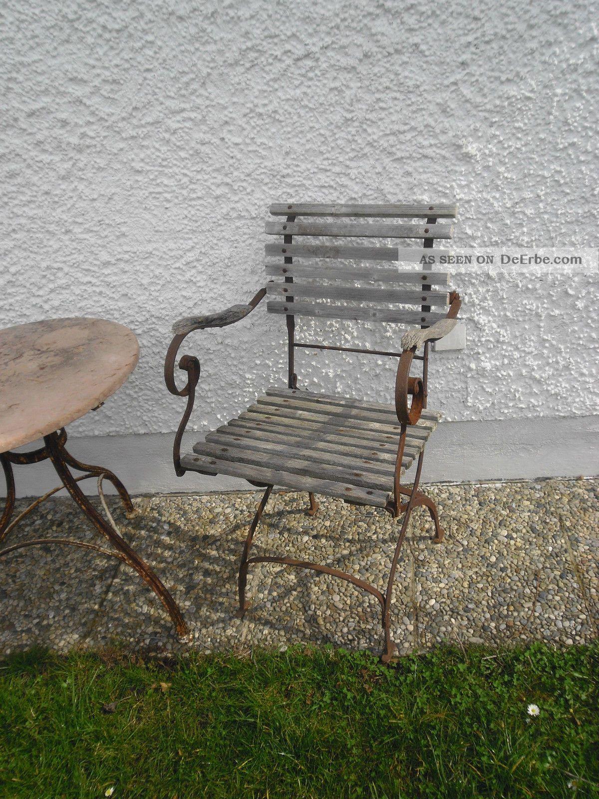 2 x alter gartenstuhl klappstuhl mit armlehne shabby chic. Black Bedroom Furniture Sets. Home Design Ideas